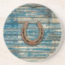 Horseshoe on Blue Wooden Boards Coaster