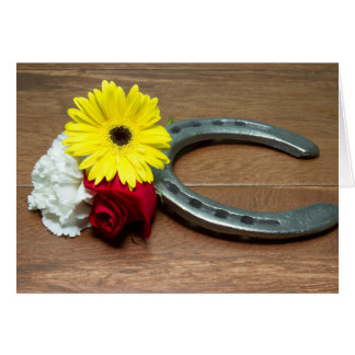 Horseshoe on Wood with Three Flowers of the Triple Card