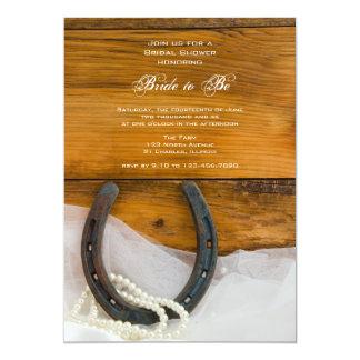 Horseshoe, Pearls Barn Wood Western Bridal Shower 5x7 Paper Invitation Card