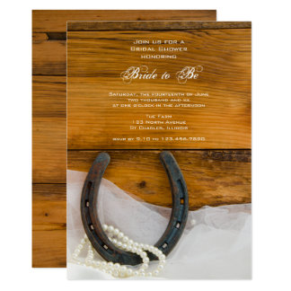 Horseshoe, Pearls Barn Wood Western Bridal Shower Card