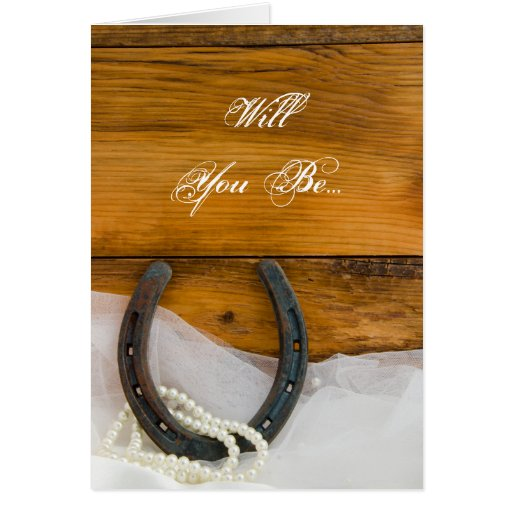 Horseshoe Pearls Will You Be My Bridesmaid Card