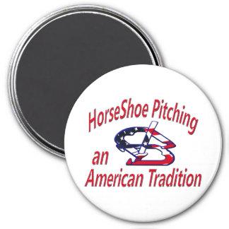 """HorseShoe Pitching 3"""" Round Magnet"""