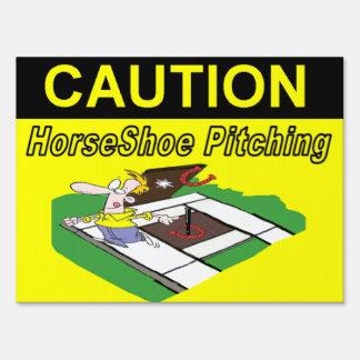 HorseShoe Pitching Caution Yard Sign