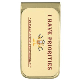 HorseShoe Pitching Money Clip- Priorities Gold Finish Money Clip