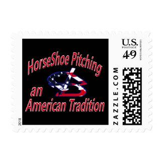 HorseShoe Pitching Postage Stamp