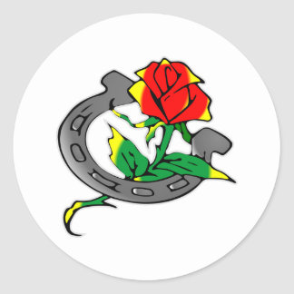 Horseshoe & Rose Tattoo Classic Round Sticker
