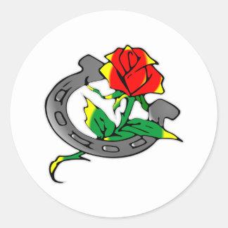 Horseshoe & Rose Tattoo Round Stickers