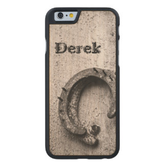 Horseshoe Vintage Sepia Photograph Carved Maple iPhone 6 Case