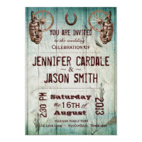 Horseshoe Wagon Wheel Barrel Wedding Invitations