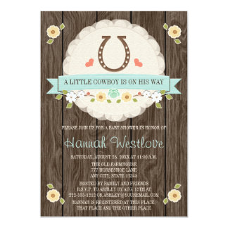 HORSESHOE WESTERN BOY BABY SHOWER INVITATION