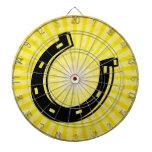 Horseshoe; yellow dartboard
