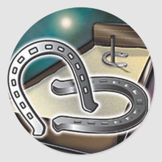 HorseShoes an Pit Classic Round Sticker