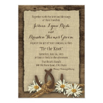 Horseshoes and Daisies Rustic Burlap Invitation