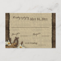 Horseshoes and Daisies Rustic Burlap Response