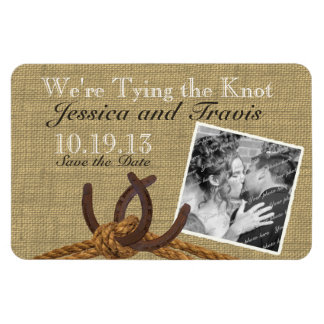 Horseshoes and Rope Photo Save the Date Magnet