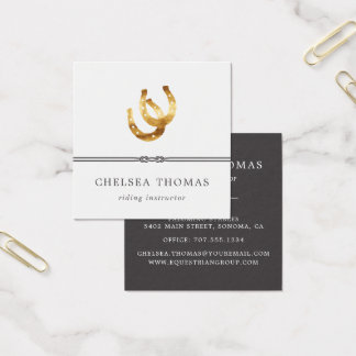 Horseshoes | Equestrian Center Riding Instructor Square Business Card
