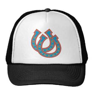 Horseshoes in Blue and Red Trucker Hat