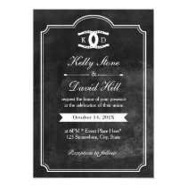 Horseshoes Initials Chalkboard Equine Wedding Invitation