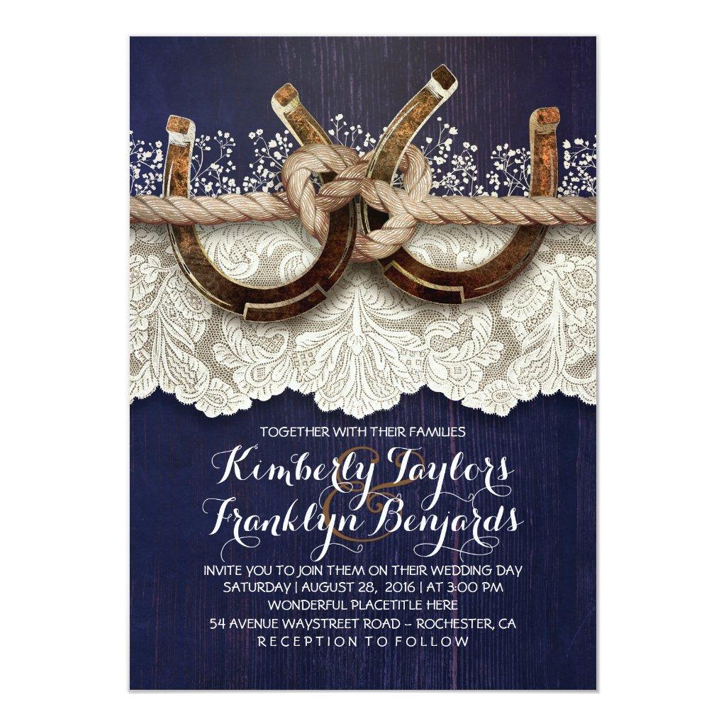 Horseshoes Lace Wood Navy Rustic Wedding Card