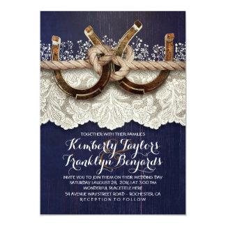 Horseshoes Lace Wood Navy Rustic Wedding Invitation