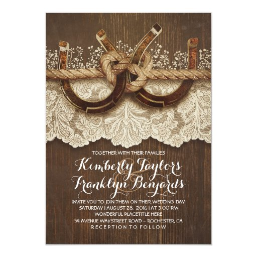 Horseshoes Lace Wood Rustic Country Wedding Card Zazzle