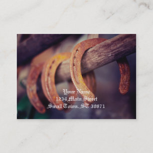 Western business cards templates zazzle horseshoes on barn wood cowboy country western business card colourmoves