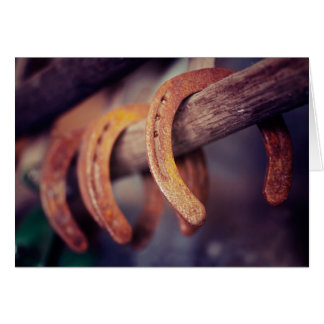 Horseshoes on Barn Wood Cowboy Country Western Card