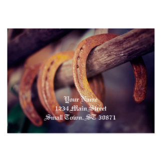 Horseshoes on Barn Wood Cowboy Country Western Large Business Card