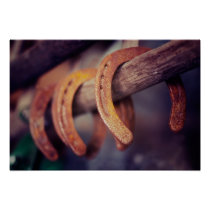 Horseshoes on Barn Wood Cowboy Country Western Poster
