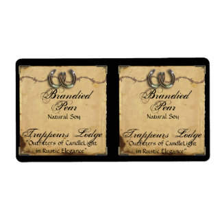 Horseshoes on Parchment Candle Label