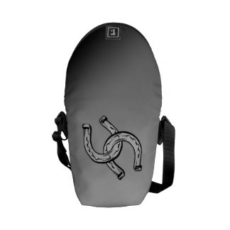 Horseshoes on Silver Gradient Courier Bag