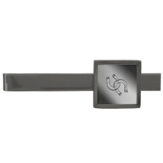 Horseshoes on Silver Gradient Gunmetal Finish Tie Clip