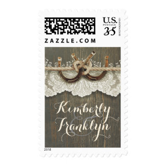 Horseshoes Rustic Country Lace Wood Wedding Postage