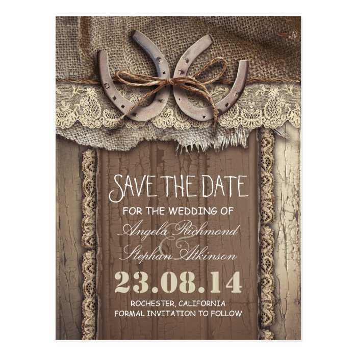 Country Wedding Invitations: Horseshoes Rustic Country Save The Date Postcards