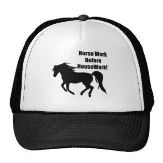 Horsework antes del trabajo de la casa gorros bordados