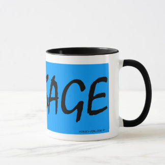 Horsey-Girl's Dressage Mug With Black Text on Blue