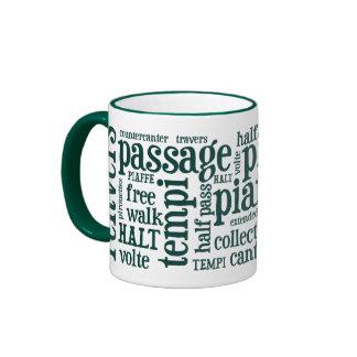 Horsey-Girl's Dressage Terms Mug in Hunter Green