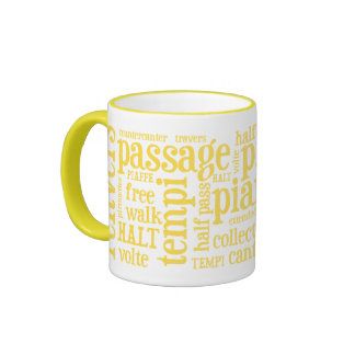 Horsey-Girl's Dressage Terms Mug in Lemon Yellow