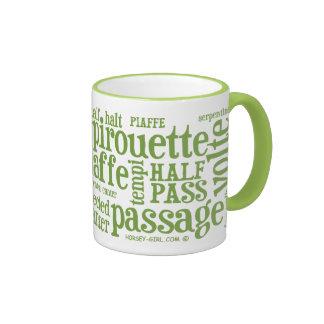 Horsey-Girl's Dressage Terms Mug in Lime Green