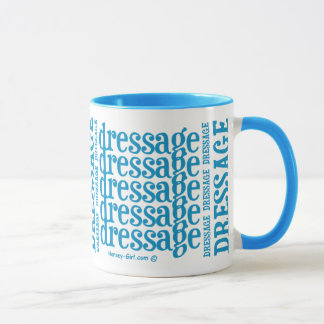 "Horsey-Girl's ""Dressage"" WordArt Mug in Turquoise"