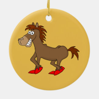 Horsey Double-Sided Ceramic Round Christmas Ornament