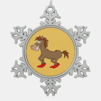Horsey Snowflake Pewter Christmas Ornament