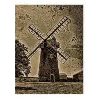 Horsey windpump sepia postcard