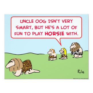 """horsie del juego del hombre de las cavernas invitación 4.25"""" x 5.5"""""""