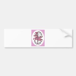 Horsie rosado del tiovivo pegatina de parachoque