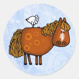 horsing around classic round sticker
