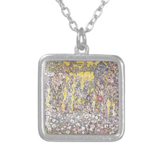 Horticultural landscape with a hilltop silver plated necklace