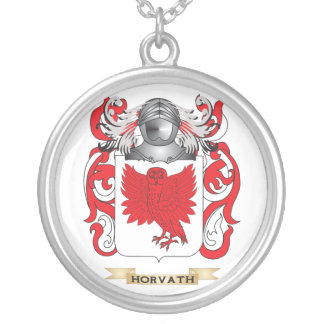Horvath Coat of Arms (Family Crest) Round Pendant Necklace