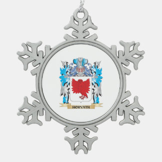 Horvath Coat of Arms - Family Crest Snowflake Pewter Christmas Ornament
