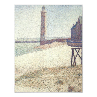 Hospice and Lighthouse at Honfleur by Seurat 4.25x5.5 Paper Invitation Card